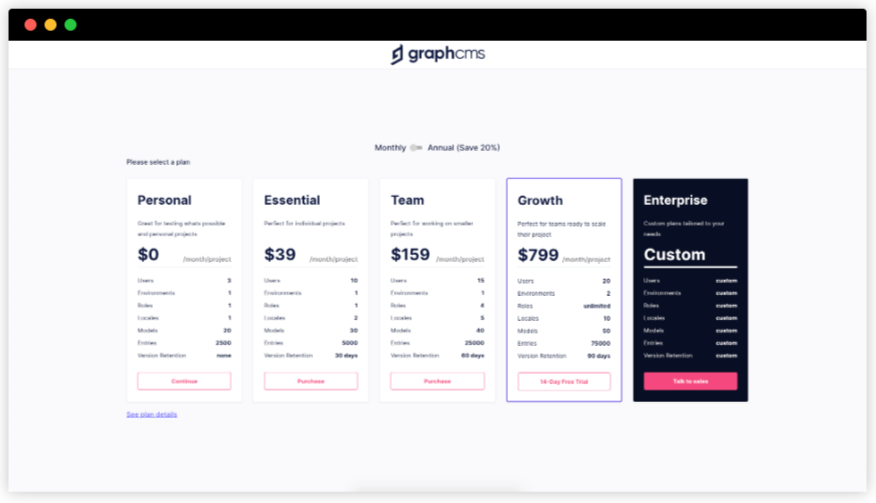 Selecting our GraphCMS project plan